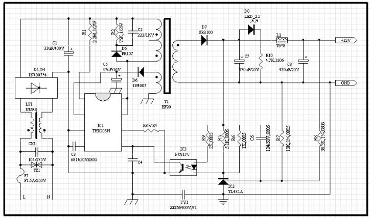 схема подключения THX203H