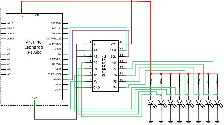 индикация через PCF8574AP I2C