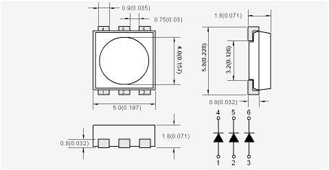 размеры и схема светодиода 5050