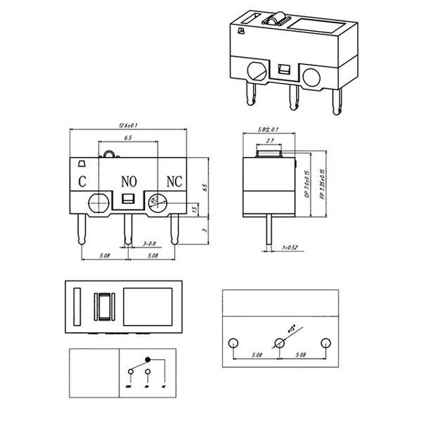 размеры микро выключателя