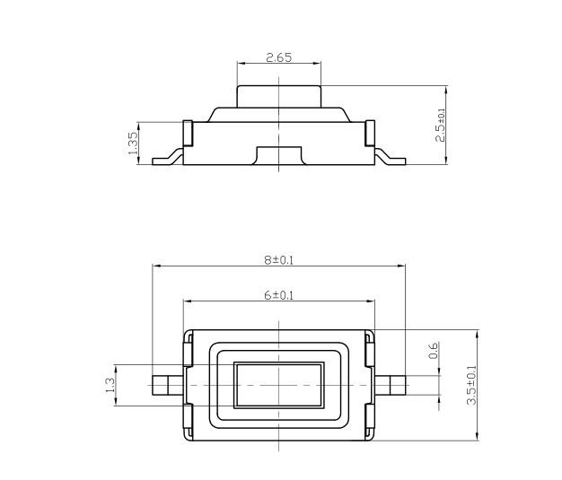 размеры кнопки SMD 3x6x2.5mm